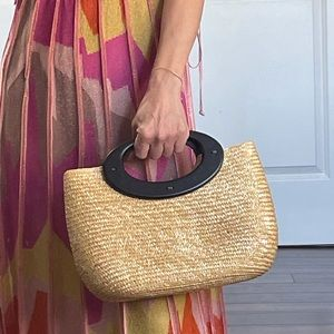 Summer Straw Wood Handle Bag